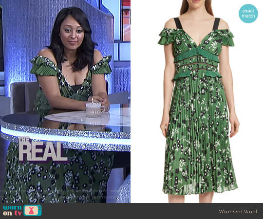 Floral Print Cold Shoulder Dress by Self Portrait worn by Tamera Mowry  on The Real