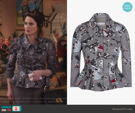 Prince of Wales Wool with Threadwork Embroidery by Erdem worn by Megan Mullally on Will & Grace