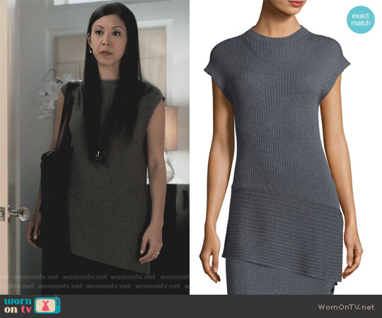 Wool Asymmetric Sweater by St. John worn by Brittany Ishibashi on Marvels Runaways