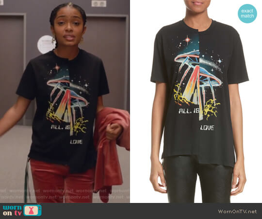 All Is Love UFO Asymmetrical Tee by Stella McCartney worn by Zoey Johnson (Yara Shahidi) on Grown-ish