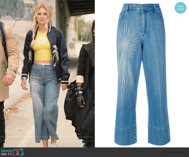 Embellished Wide-leg Jeans by Stella McCartney worn by Karolina Dean (Virginia Gardner) on Marvels Runaways