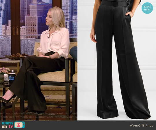 Satin Wide-Leg Pants by Stella McCartney worn by Kelly Ripa (Kelly Ripa) on Live with Kelly & Ryan