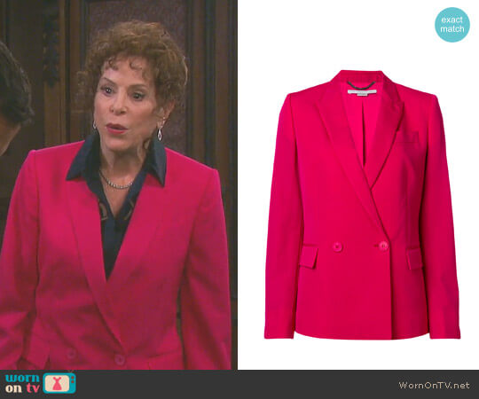 Fitted Double-Breasted Blazer by Stella McCartney worn by Vivian Alamain (Louise Sorel) on Days of our Lives