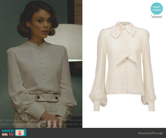 Pussy-bow Silk Blouse by Talitha worn by Cristal Flores (Nathalie Kelley) on Dynasty