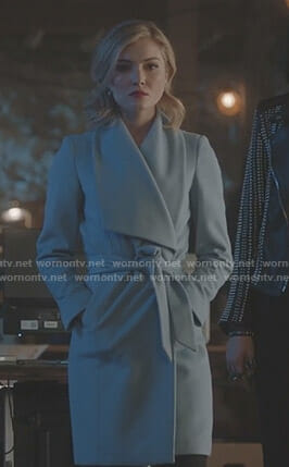 The Stepford Cuckoos' blue wrap coat on The Gifted