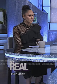 Tamera's black ruffled jumpsuit on The Real