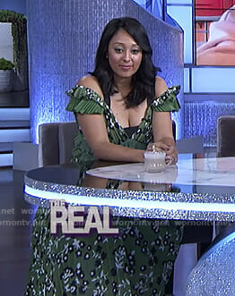 Tamera's green floral ruffled dress on The Real