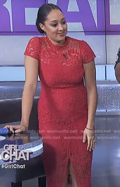 Tamera's red lace dress with front slit on The Real