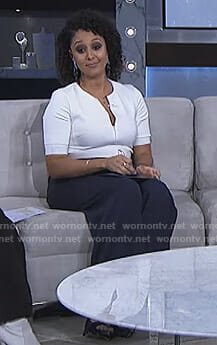 Tamera's two-tone zip front jumpsuit on The Real