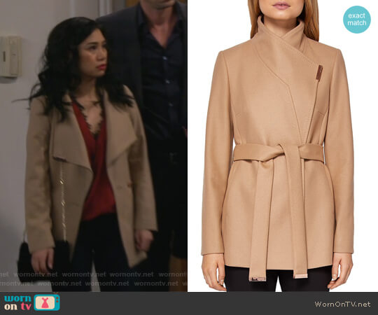 Keyla Short Wrap Coat by Ted Baker worn by Eve Roberts (Liza Lapira) on 9JKL