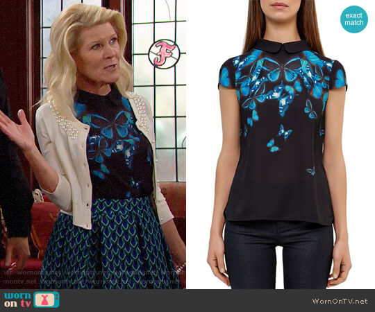 Ted Baker Nealie Butterfly Collective Top worn by Pamela Douglas (Alley Mills) on The Bold & the Beautiful