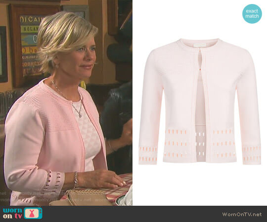 'Rihanon' Cutwork Cardigan by Ted Baker worn by Mary Beth Evans on Days of our Lives
