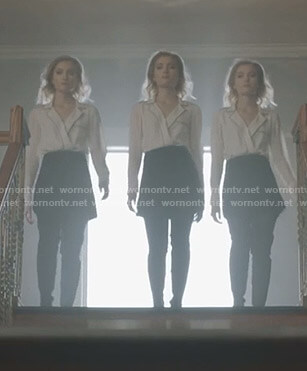 The Stepford Cuckoos' white wrap blouse with black piping on The Gifted