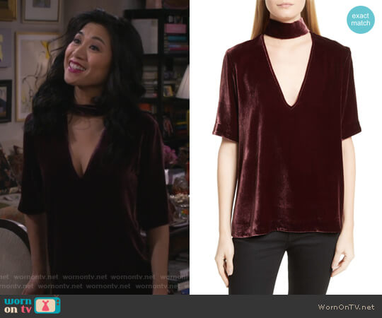Choker Collar V-Neck Velvet Top by Theory worn by Liza Lapira on 9JKL