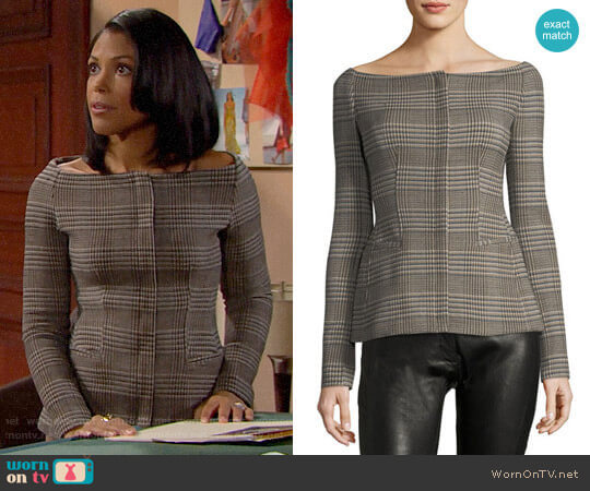 Theory Off-the-Shoulder Wool Plaid Jacket worn by Maya Avant (Karla Mosley) on The Bold & the Beautiful