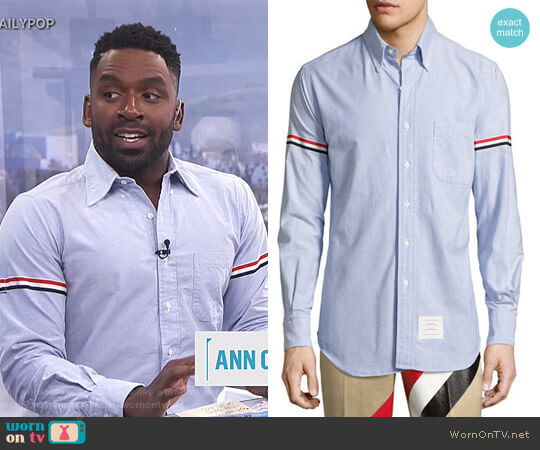 Classic Arm-Stripe Long-Sleeve Oxford Shirt by Thom Browne worn by Justin Sylvester on E! News
