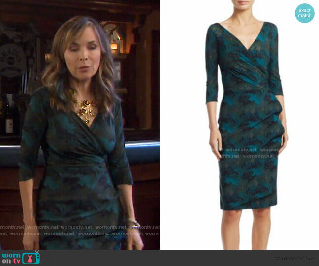 Three Quarter Sleeve Wrap Dress in Maple Green by Chiara Boni La Petite Robe worn by Kate Roberts (Lauren Koslow) on Days of our Lives