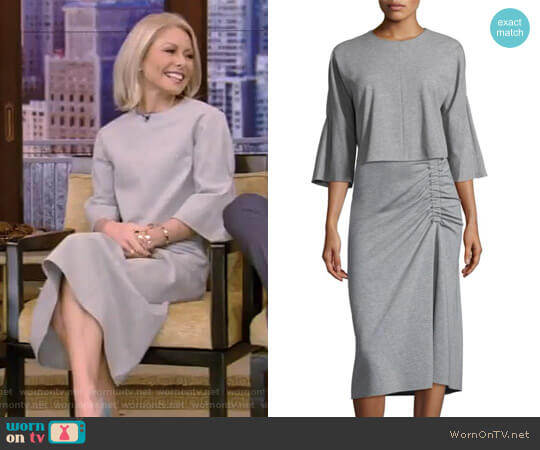 Three-Quarter Sleeve Top and Slim Shirred Skirtby Tibi worn by Kelly Ripa  on Live with Kelly & Ryan