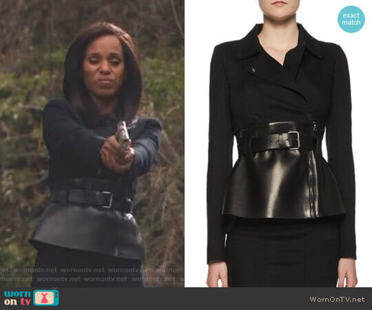 Belted Leather Peplum Wrap Jacket by Tom Ford worn by Kerry Washington on Scandal