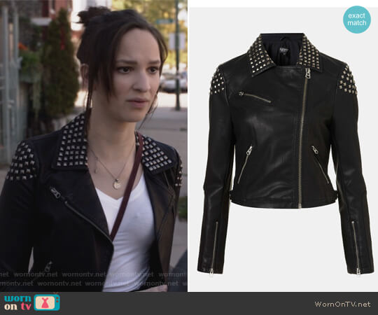 Studded Faux Leather Biker Jacket by Topshop worn by Sierra Morton (Ruby Modine) on Shameless