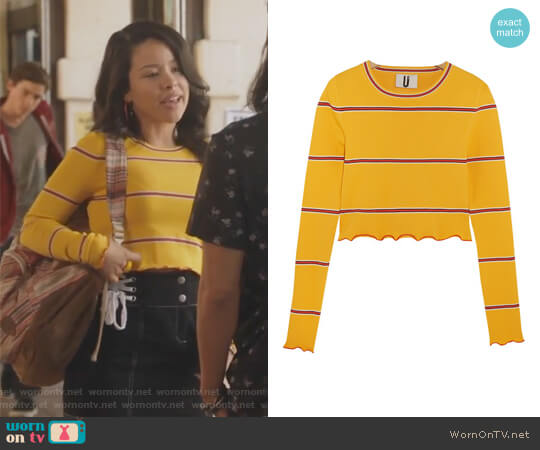 Margot striped stretch-knit top by Topshop worn by Mariana Foster (Cierra Ramirez) on The Fosters