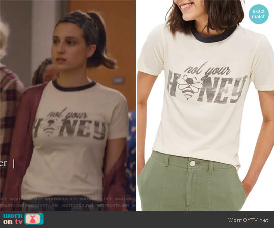 Not Your Honey Ringer Tee by TopShop worn by Nomi Segal (Emily Arlook) on Grown-ish