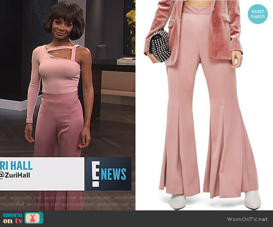 Satin Super Flare Trousers by Topshop worn by Zuri Hall  on E! News