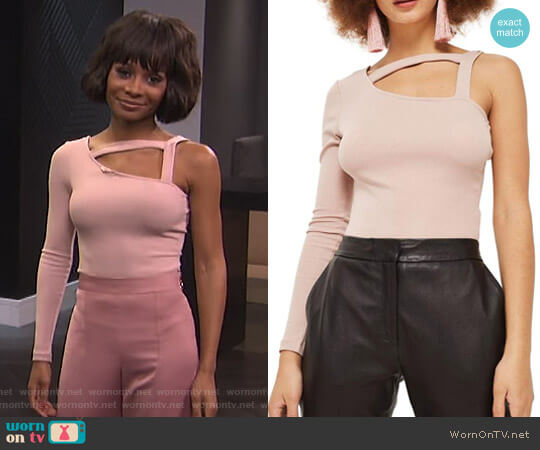 Strappy One Shoulder Bodysuit by Topshop worn by Zuri Hall  on E! News