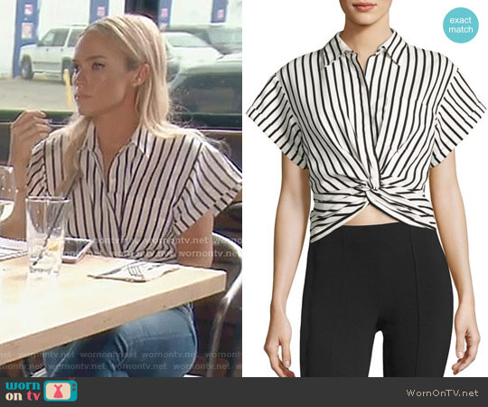 Twisted Front Striped Shirt by T by Alexander Wang worn by Teddi Mellencamp Arroyave on The Real Housewives of Beverly Hills