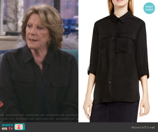 Roll Sleeve Utility Shirt by Two by Vince Camuto worn by Linda Lavin on 9JKL