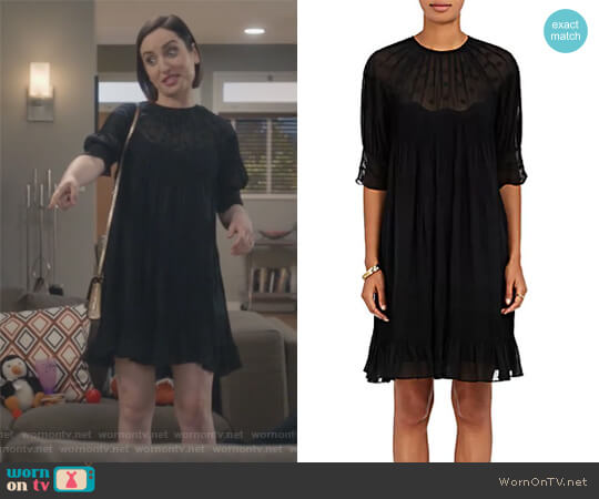Victorian Evangeline Silk Georgette Minidress by Ulla Johnson worn by Zoe Lister-Jones on Life in Pieces