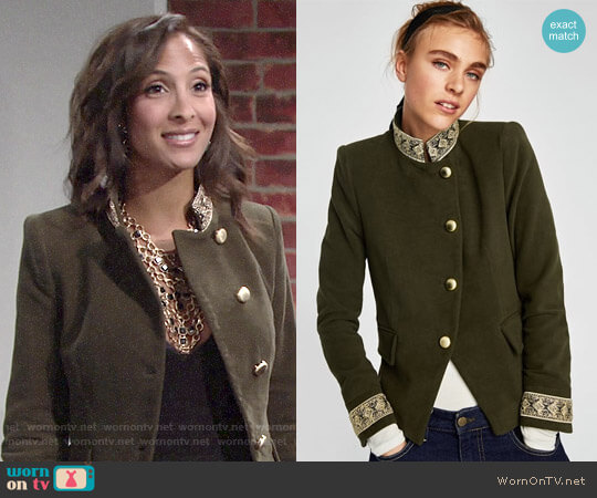 Zara Velvet Jacket with Passementerie worn by Lily Winters (Christel Khalil) on The Young & the Restless