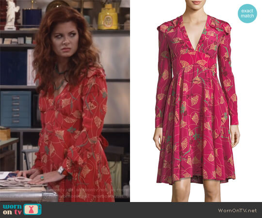 Lotus-Print Silk V-Neck Dress by Valentino worn by Debra Messing on Will & Grace