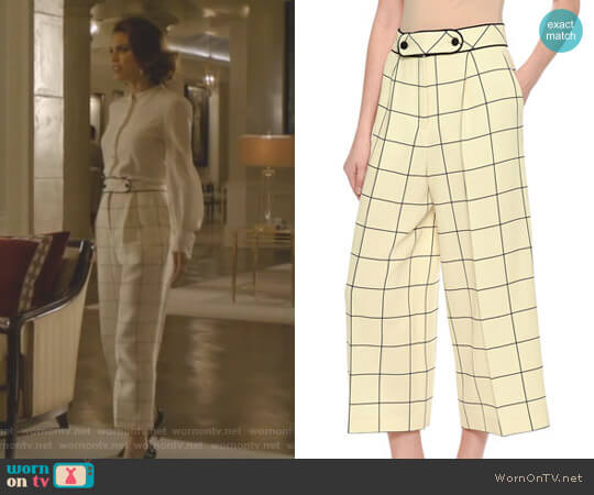 Windowpane Wool Culottes by Valentino worn by Cristal Flores (Nathalie Kelley) on Dynasty