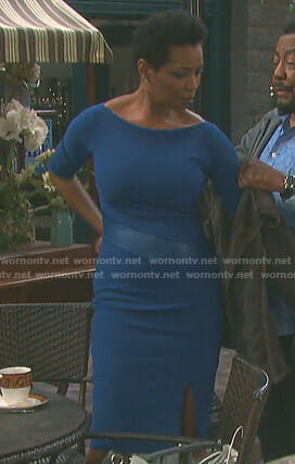 Valerie's blue leather insert sheath dress on Days of our Lives
