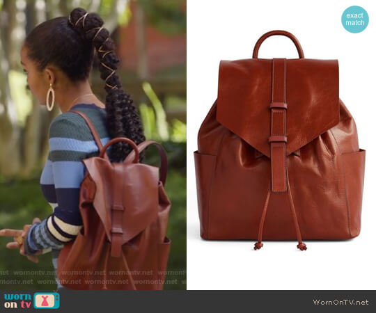 Big Sky Leather Backpack by Vera Bradley worn by Zoey Johnson (Yara Shahidi) on Grown-ish