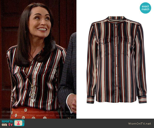 Veronica Beard Poppy Striped Blouse  worn by Quinn Fuller (Rena Sofer) on The Bold & the Beautiful