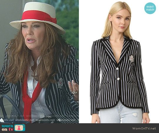 Spirit Striped Pique Blazer by Veronica Beard worn by Lisa Vanderpump on The Real Housewives of Beverly Hills
