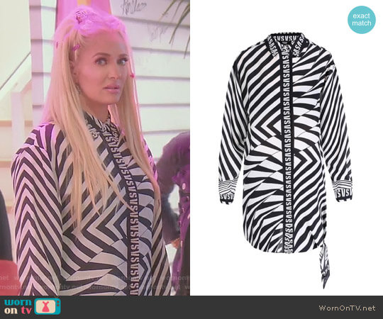 Zebra-Striped Silk Long Shirt by Versus Versace worn by Erika Girardi on The Real Housewives of Beverly Hills