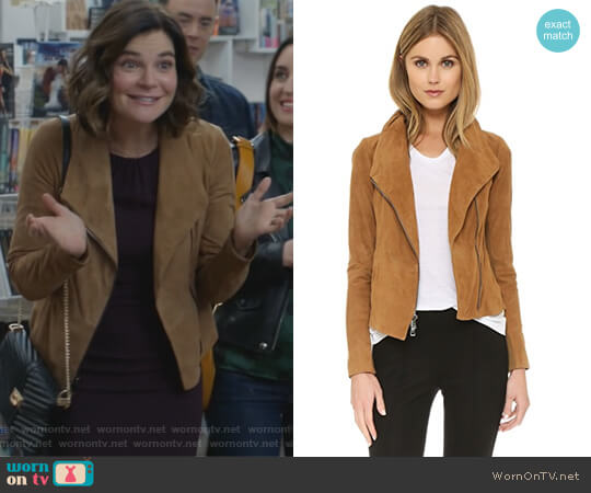 Suede Scuba Jacket by Vince worn by Heather Hughes (Betsy Brandt) on Life in Pieces