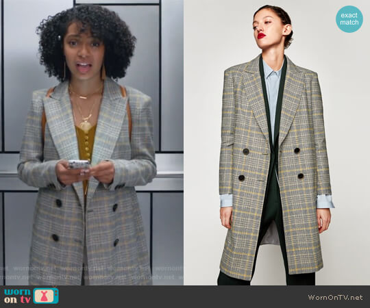 Checked Coat by Zara worn by Yara Shahidi on Grown-ish