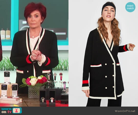 Double Breasted Jacket with Pearl Buttons by Zara worn by Sharon Osbourne  on The Talk