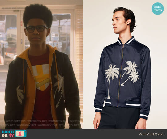 Embroidered Bomber Jacket by Zara worn by Rhenzy Feliz on Marvels Runaways