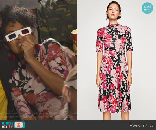 High Neck Dress by Zara worn by Zoey Johnson (Yara Shahidi) on Grown-ish