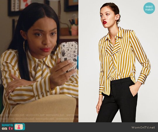 Satin Shirt with Front Detail by Zara worn by Zoey Johnson (Yara Shahidi) on Grown-ish