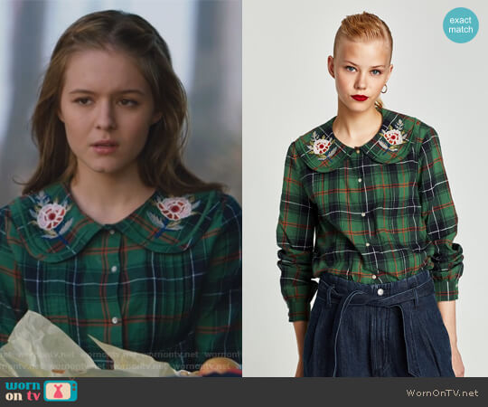 Shirt with Embroidered Collar by Zara worn by Taylor (Izabela Vidovic) on The Fosters