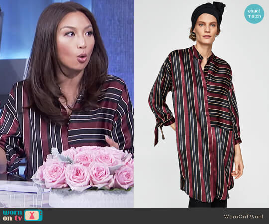 Striped Satin Dress by Zara worn by Jeannie Mai on The Real