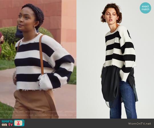 Striped Sweater by Zara worn by Zoey Johnson (Yara Shahidi) on Grown-ish