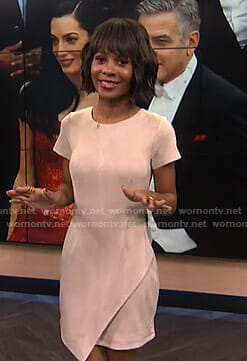 Zuri's pink short sleeve suede dress on E! News
