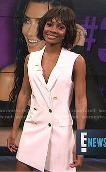 Zuri's white sleeveless blazer dress on E! News